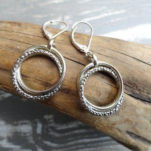 Silver Double Hoop Earrings Vintage